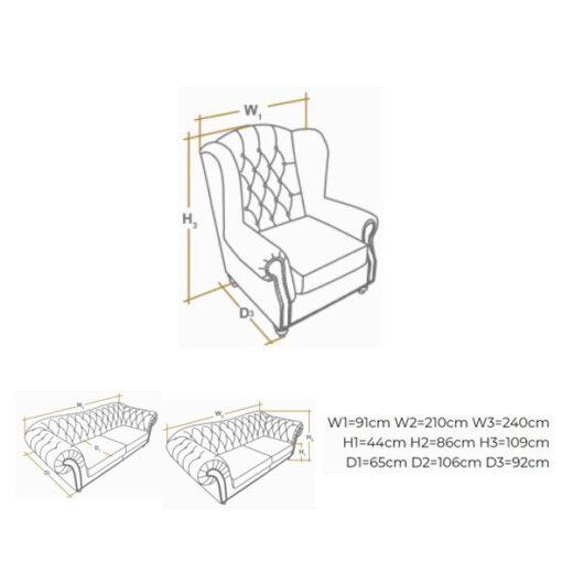winchester fotelja dimenzije