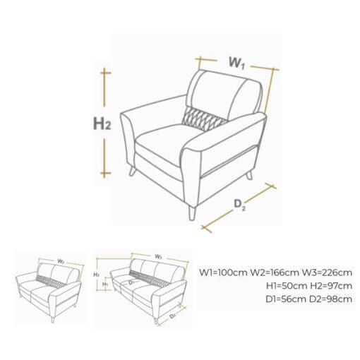 fotelja milano dimenzije